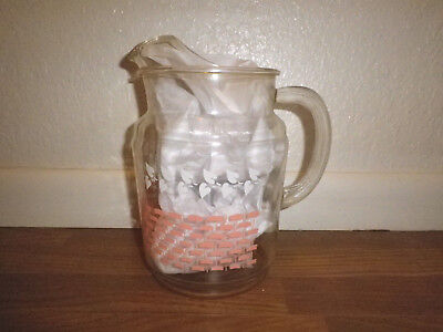 Vintage~Clear Glass~Pitcher~Pink Wicker Pattern~White Leaves~Pre-Owned~1950's