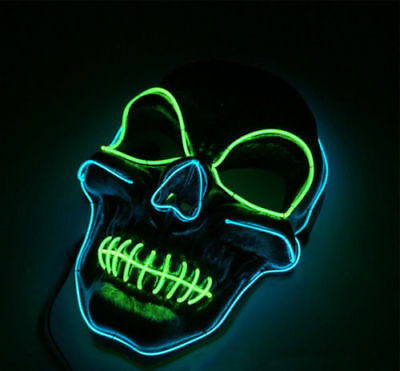 1 Pcs Halloween LED Light Up Skull Mask EL Wire Glowing Light Mask  Cosplay #B