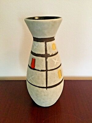 """West German Pottery Vase Scheurich Form 522 16 """"FOREIGN"""" WGP hand painted yellow"""