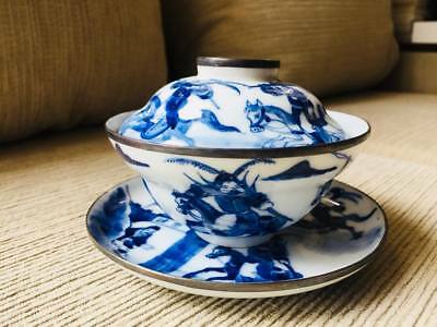 old chinese porcelain Teacup warrior painted