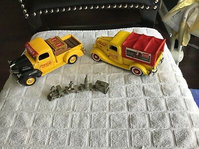 Coca Cola Pewter Train And (2) Collectors Trucks