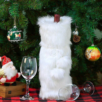 Luxury White Faux Furs Wine Bottle Cover Bag Christmas Home Decoration Accessory
