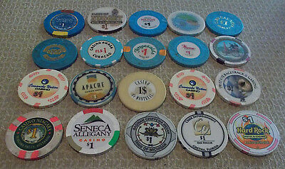 LOT OF 20 DIFFERENT $1 CASINO CHIPS from various LOCATIONS (#5) $2.99 shipping