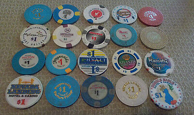LOT OF 20 DIFFERENT $1 CASINO CHIPS from various LOCATIONS (#6) $2.99 shipping