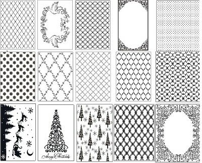Crafts Too Universal A4 Embossing Folders Various Lattice, Christmas, Patterns