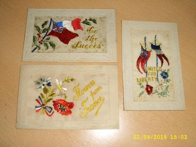 Ww1 Silks - Patriotic Flags , Flowers From Franc Etc Collection Of Postcards
