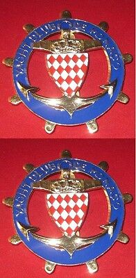Yacht Club De Monaco -Set Of 2Pcs Car Grill Badges Emblem Logos Metal Enamled Ca