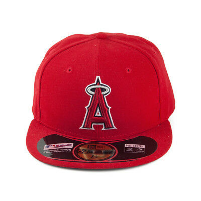 New Era 59Fifty Diamond Tech Mlb Los Angeles Angels Baseball Cap Red Red 7 1/4