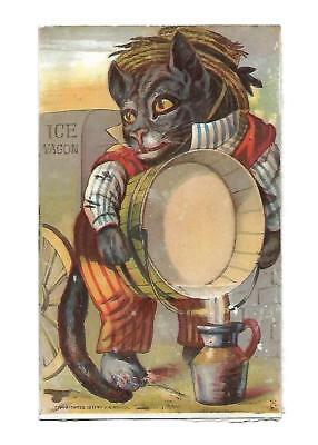 Ice Wagon Black Cat Dressed in Clothes Barrel  No Advertising Vict Card c1880s