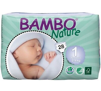 Bambo Nature Maxi Baby Diapers, Size 1, 28 count