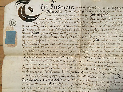 1695 Vellum Indenture Release of Messuage in Whitby - Rymer, Richeer