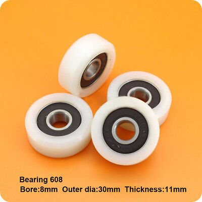 2Pcs Flat Plastic Nylon Door And Window Pulley Bearings With Embed 608ZZ 8*30*11