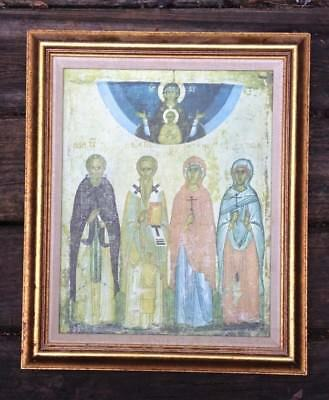 Framed Russian Icon of Selected Saints Reproduction on Cloth of Old Painting