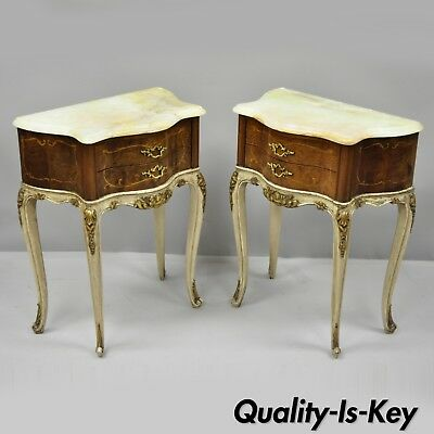 Pair of French Louis XV Style Small Petite Onyx Top Inlaid Bombe Nightstands
