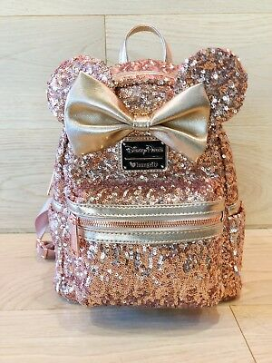 Disney Minnie Mouse Disneyland Loungefly Rose Gold Sequin Backpack - NWT RARE