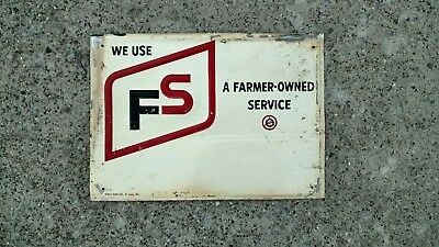 Original 1960's Fs Farmer Owned Services Metal Sign Stout Sign Co. Embossed
