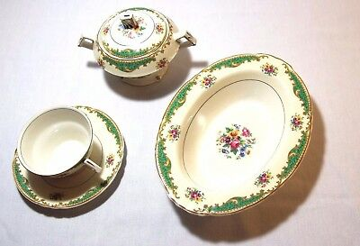 Myott Staffordshire Cup And Saucer/side Dish/sugar Bowl With Lid Vintage Lot