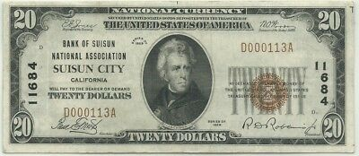 $20 1929 Suisun City, California National Bank Note!