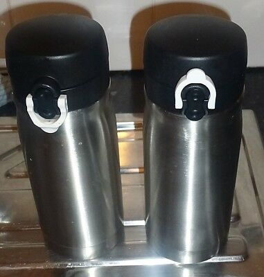 Pair of Stainless Steel 350ml Flasks Insulated Tea Coffee x 2 Spillproof