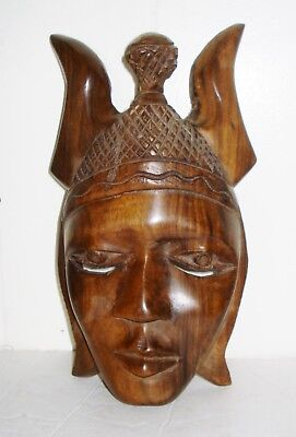 Vintage Rare Bali Wooden Mask Figurine Beautiful Design Nr