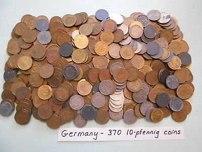 World Coin Lot:  370 10-Pfennig Coins from Germany