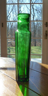 """Emerald Green Antique Pickle Bottle Great Condition 7.5 """" Tall"""