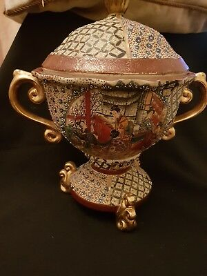Antique Oriental Rare Lidded Vase,beautifully decorated.hand painted and unusual