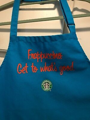 """Rare Starbucks Frappuccino """"Get To What's Good"""" Teal Blue/green Apron"""