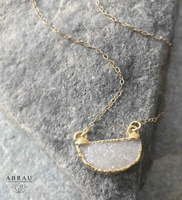 ABRAU Petite Half Moon Circle Druzy Gemstone Layering Necklace - Silver or Gold