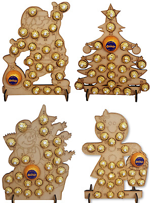 Wooden Advent Calendar Christmas Tree Fits 24 Ferrero Rocher & Chocolate Orange