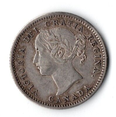 CANADA 1858 10 Cents Silver AU Details 1st Year Type
