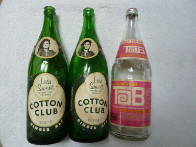 2 Cotton Club Ginger Ale + 1 Tab Soda Bottles - Paper Labels - Rare!