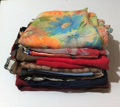 Vintage Scarf Lot Assorted Styles Colors Designs Fashion Accessory 12 Pc