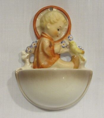 Hummel 22/0 Wall Plaque Wall Pocket Child w Bird & Flowers W. Germany Excellent!