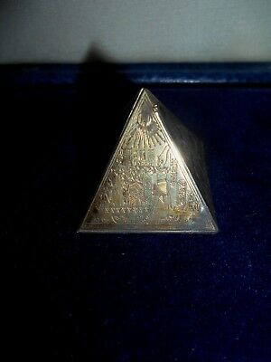 Antique Egyptian Pyramid ~ Etched Brass/Bronze/Copper