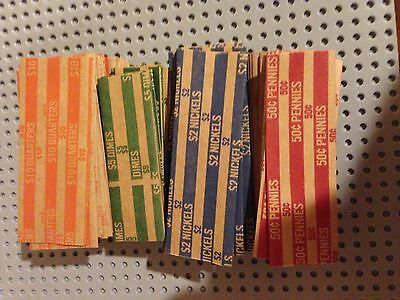 100 New Pennys, Nickels, Dimes & Quarter Pop-Open Flat Paper Coin Wrappers Tubes