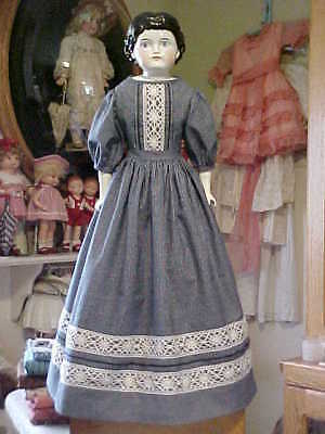 "Antique Repro Navy Print w/Lace Dress For 27-29"" China,Paper Mache, Bisque Doll"