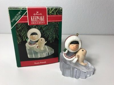 Hallmark 1990 FROSTY FRIENDS #11 in Series Keepsake Ornament Eskimo & Seal