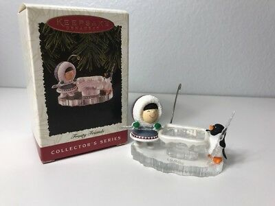 1996 FROSTY FRIENDS Hallmark Eskimo Penguin Ornament Playing Pool ICE CUE #17