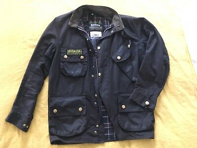 Men's Barbour International Waxed Cotton Jacket Size 36 Black Vintage S M