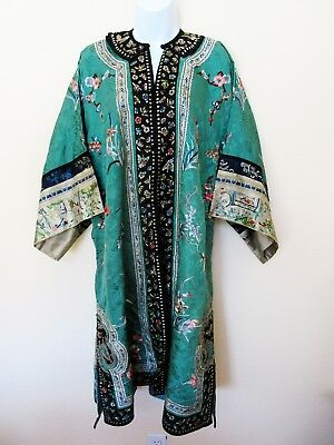 Antique 1920-1930 Chinese Embroidered Silk Robe Lined Coat Teal Blue Excellent!