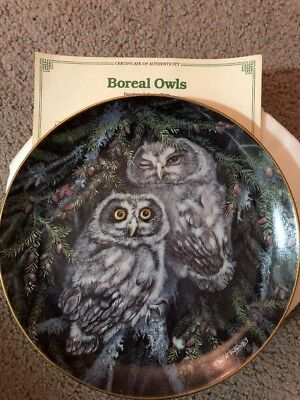 New Boreal Owls Baby Owls Danbury Mint Collector Plate