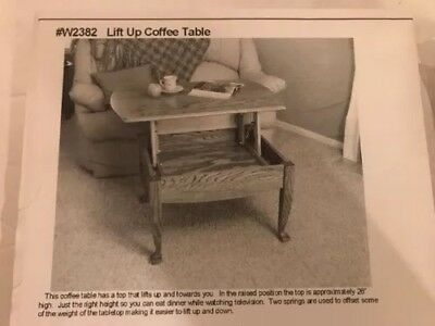 Lift Up Coffee Table Wood Working Pattern with Hardware Package.