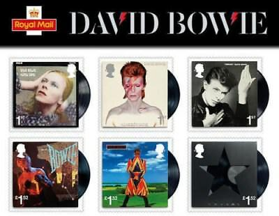 David Bowie Royal Mail Stamps,bowie,set Of 6 ,classic Albums ,blackstar,heroes