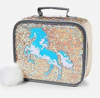 Justice Girls Gold Unicorn Flip Sequin Lunch Tote Box Bag Brand New 2018 Nwt