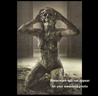 Scary Vintage Creepy Devil Girl PHOTO Nude Demon Freak Zombie Mask
