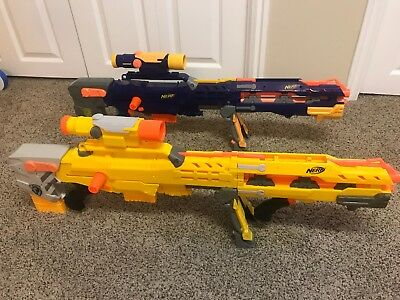Lot Of 2 NERF N-strike Longshot Cs-6 Rifle With Scope Extra Front Gun
