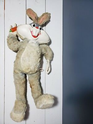 "Vintage 1964 Mattel Bugs Bunny Talking Plush Doll Pull String Rubber Face 21"" L"