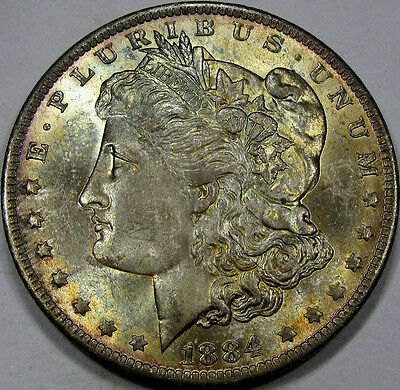1884-O Morgan Silver Dollar GEM BU++ with Superb COLOR, in TIDY HOUSE CARD, NEAT