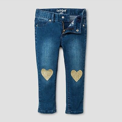 Toddler Sinny Jeans - Blue - Sparkle Heart at Knee - 3t 12m - Cat and Jack - NWT